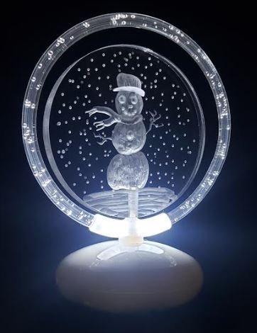Snowman in snow illuminated halo