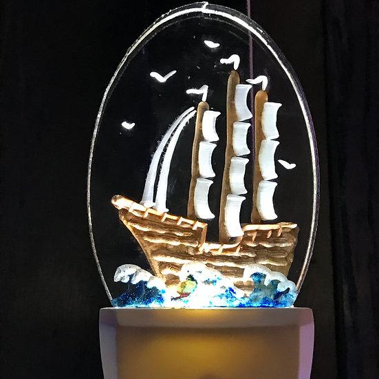 clipper ship scene night light