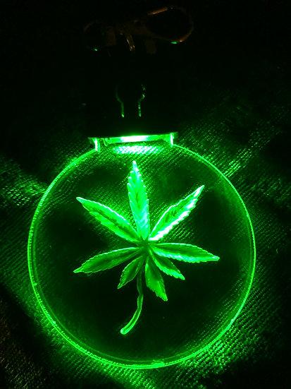 Marijuana Leaf etched lighted keychain