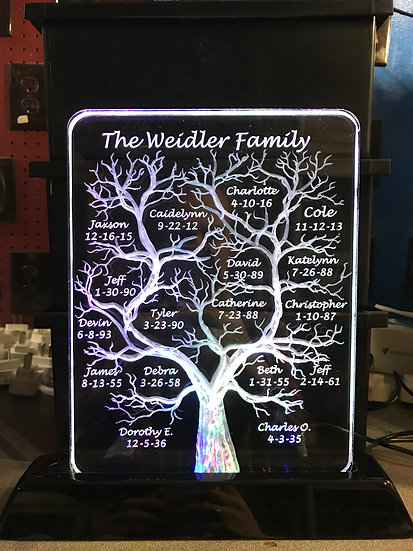 8x10 Family Tree on lighted base