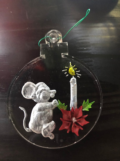 Mouse with poinsettia and candle ornament