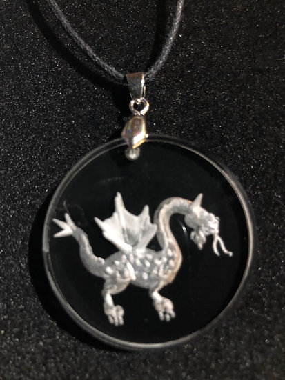 Dragon hand carved, vintage style pendant