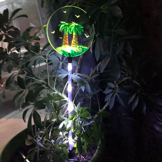 PALM TREES SOLAR LIGHTED GARDEN STAKE