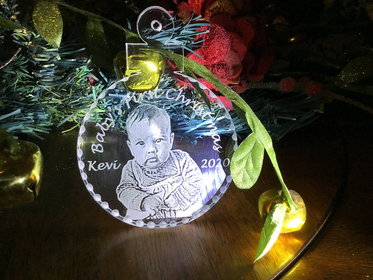 Baby's first Christmas photo etched ornament