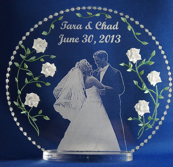 carved 3D flower bouquet photo etched wedding gift/ cake topper