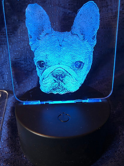 Battery operated color changing French Bulldog light