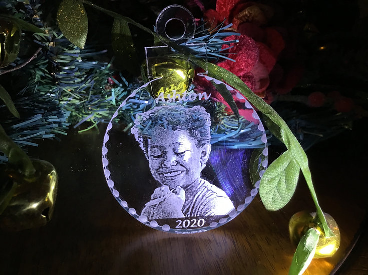 Your Child's Christmas photo etched ornament