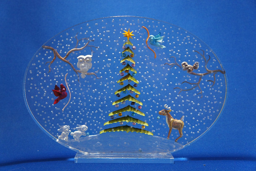 Forest Animals decorating a Christmas Tree scene