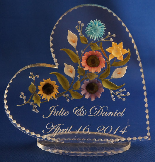 hand carved 3D flower bouquet wedding gift/ cake topper