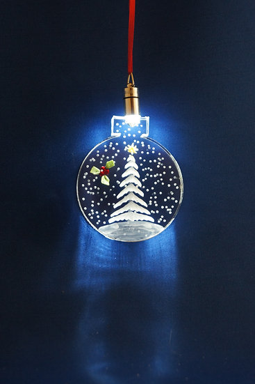 LIGHTED ORNAMENT -Evergreen with holly hand carved