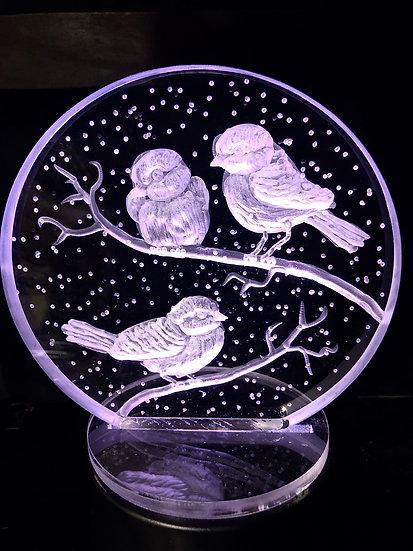 Three snowbird chickadees hand carved on light