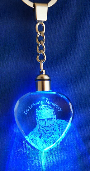 Crystal photo engraved color changing keychain