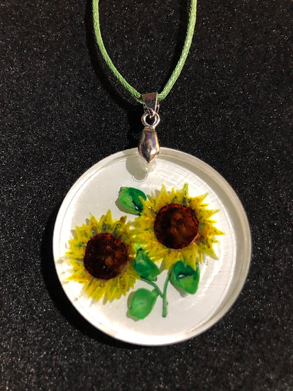 Sunflower hand carved, vintage style pendant