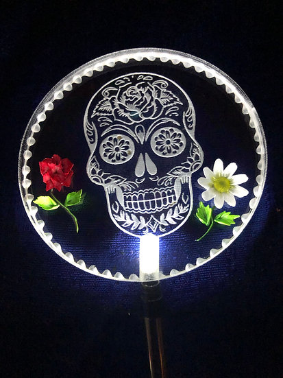 Sugar Skull with rose and daisy etched in 3 D Lighted solar stake