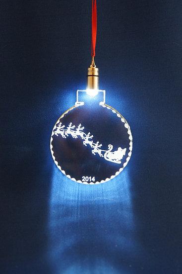 LIGHTED ORNAMENT -Santa and sleigh