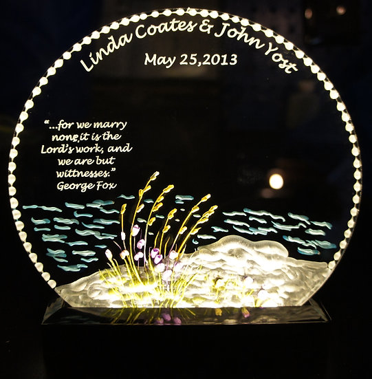 Beach wedding gift on lighted base
