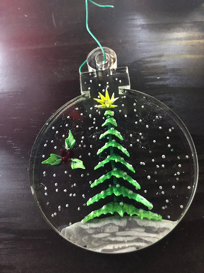 Winter evergreen and holly ornament
