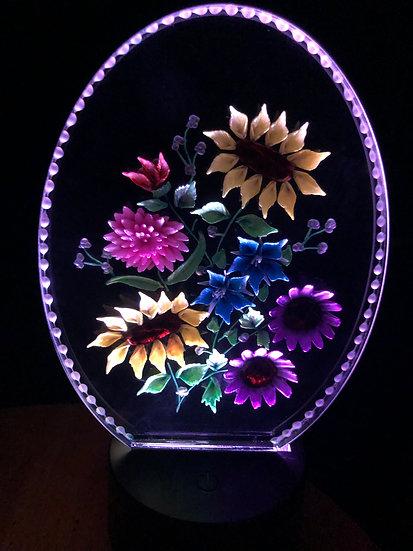 Bouquet of flowers on battery light