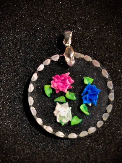 Multicolored roses hand carved, vintage style pendant
