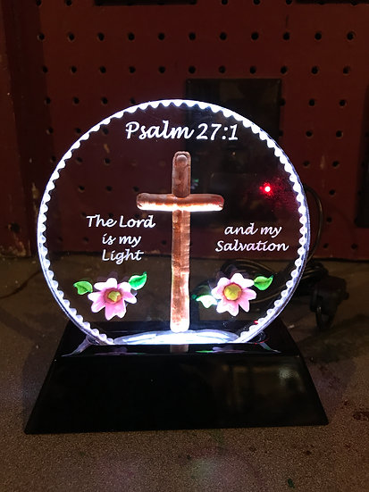 Psalm 27 or ANY BIBLE VERSE etched and hand carved with flowers