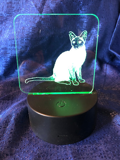 Siamese Cat Battery operated color changing night light
