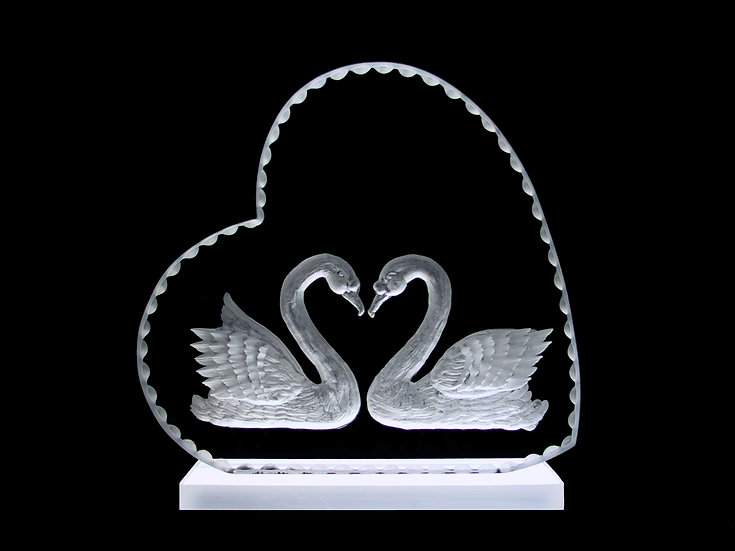 hand carved 3D Swans wedding gift cake topper