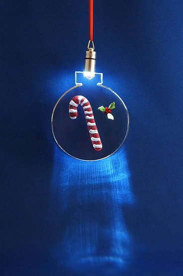 LIGHTED ORNAMENT -Candy cane with Holly hand carved