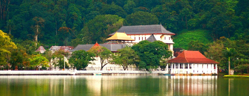 Temple of the Tooth from across the Kandy Lake