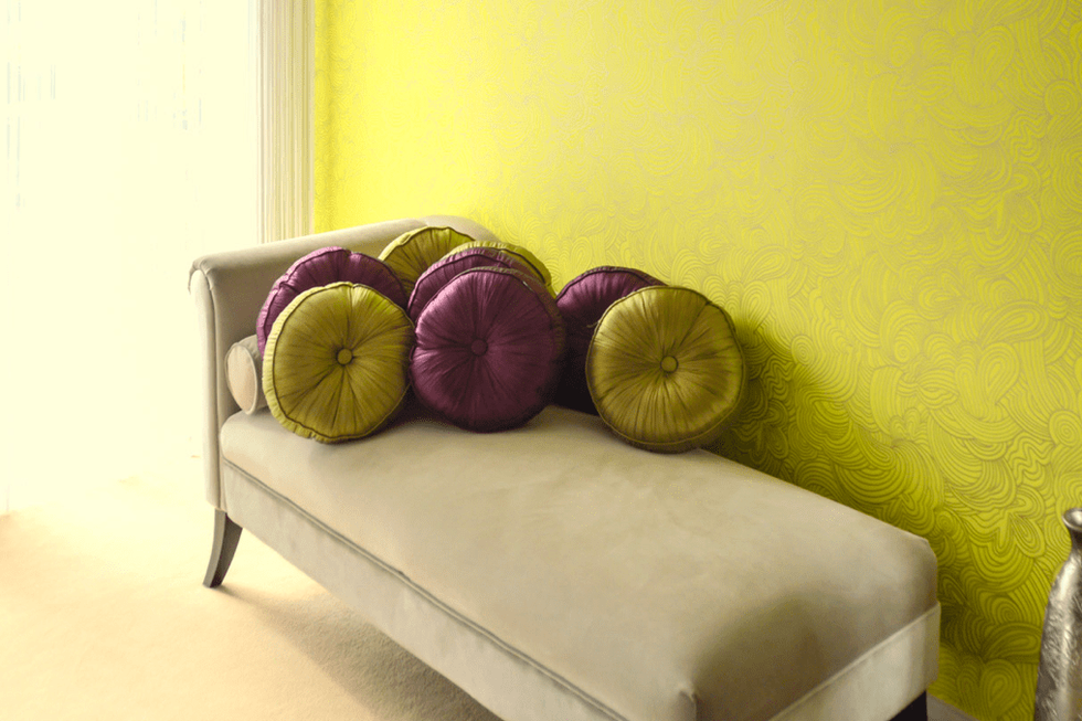 contemporary chaise longue and designer cushions