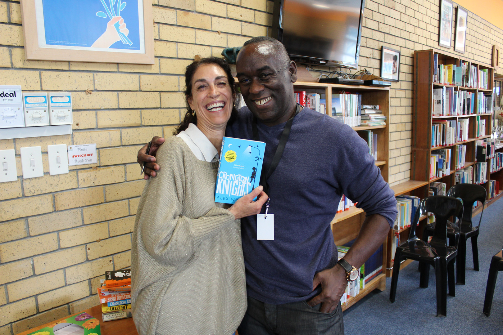 With a happy teacher in Cape Town, South Africa.