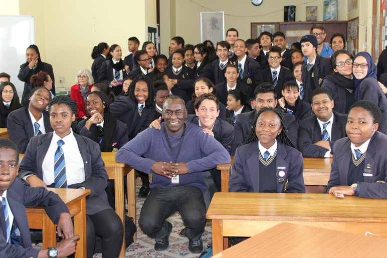 With young readers in Cape Town, South Africa.