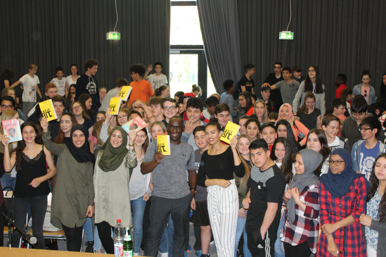 With students in Frankfurt, Germany.