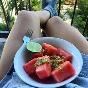 Watermelon with passionfruit and lime