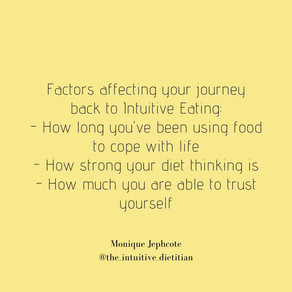 Factors affecting your journey back to Intuitive Eating