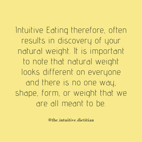 Intuitive Eating and your natural weight