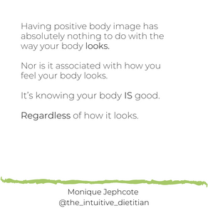 Positive body image means...