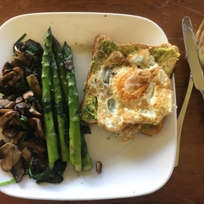 Avo & eggs on toast with mushrooms, spinach and asparagus