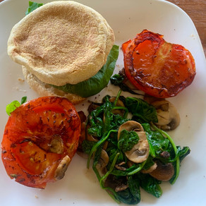 Wholemeal brekky burger with fried tomato