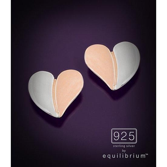 Sterling 925 Silver Two Tone Heart Earrings
