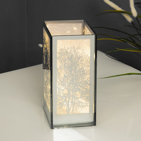 Mirror Glass Tree Design Box with LED Lights