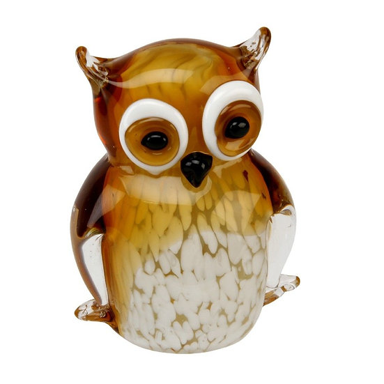 Objets d'Art Amber Owl Glass Figurine