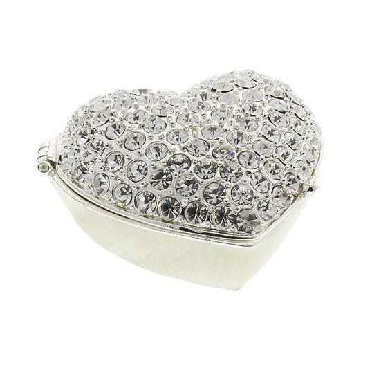 Silver Plated Crystal Heart Trinket Box