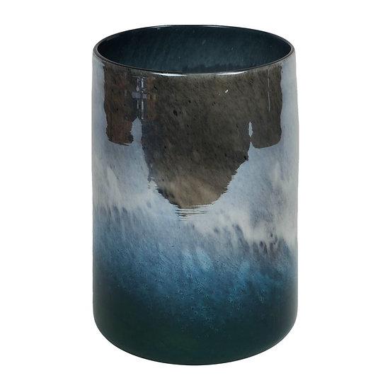 Objets d'Art 25cm Blue Marble Effect Vase