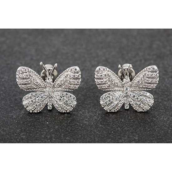 Butterfly Stud Earrings - Platinum Plated