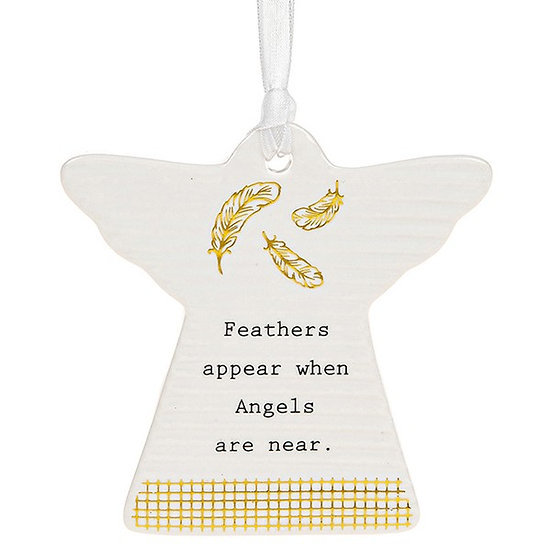 Thoughtful Words Hanging Plaque - Feathers