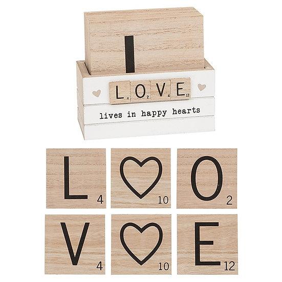 Set of 6 Scrabble Coasters - LOVE