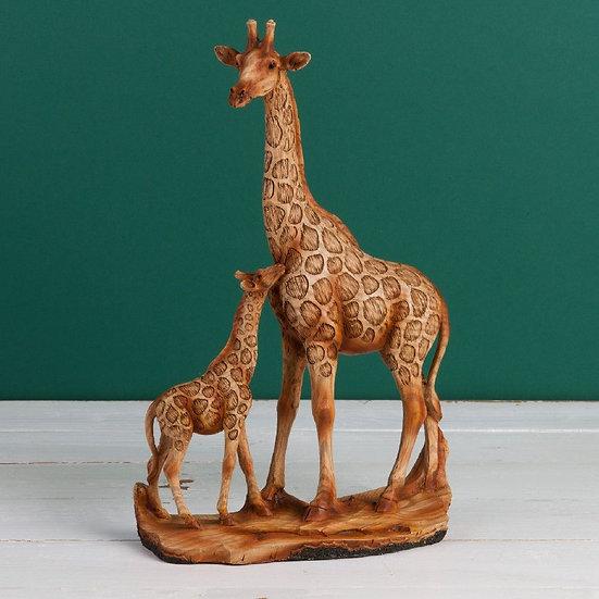 Wood Effect Giraffe & Calf Ornament