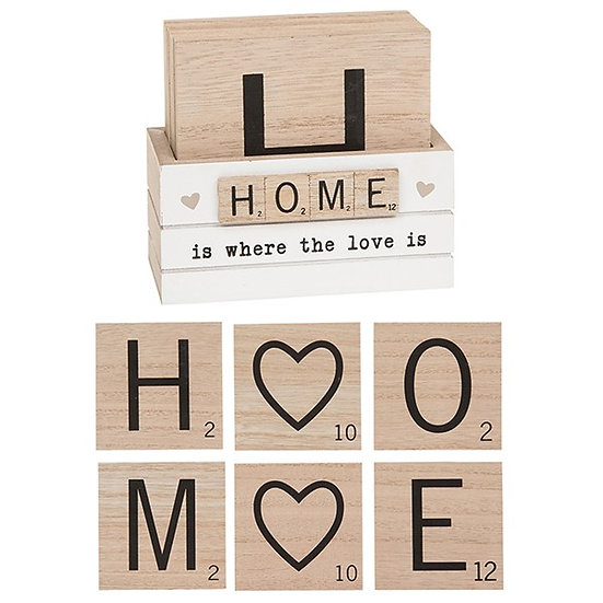 Set of 6 'Scrabble' Coasters - HOME