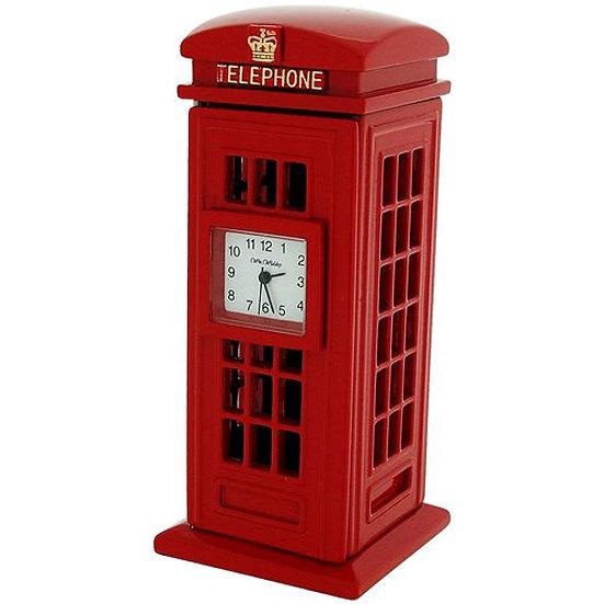Red Telephone Box Miniature Desk Clock