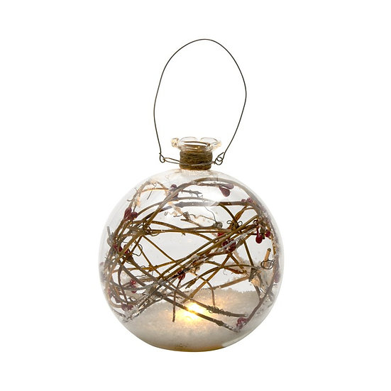 Light Up Glass Bauble with Snow and Twigs